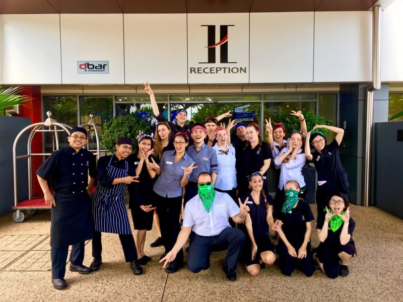 Staff posing for photo for Canteen Bandana Day